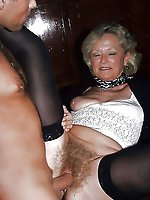 Dissolute businesswomen with hairy pussy