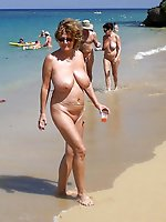 Extravagant aged MILFs posing nude in public