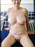 Randy mature MILFs posing totally undressed on picture