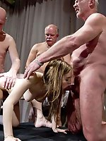 Enchanting old whore is masturbating