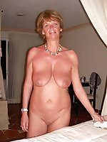 Lascivious older dame in a sex gallery